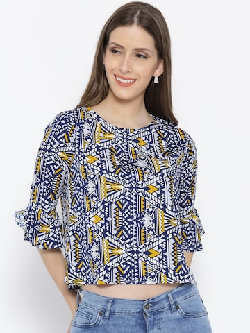 Style Quotient Women Navy & Off-White Printed Boxy Top Style Quotient Tops at myntra