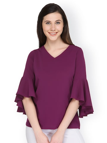 plusS Women Purple Solid Top plusS Tops at myntra