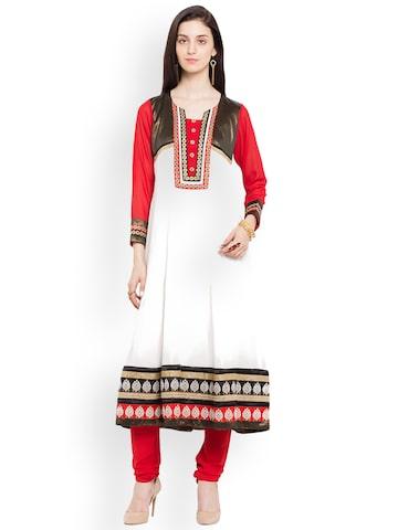 Nikhaar Women White & Red Embroidered Anarkali Kurta Nikhaar Kurtas at myntra