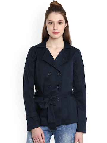 United Colors of Benetton Women Blue Solid Parka United Colors of Benetton Jackets at myntra