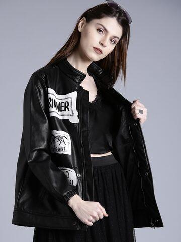 Kook N Keech Women Black Faux Leather Appliqué Detail Biker Jacket Kook N Keech Jackets at myntra