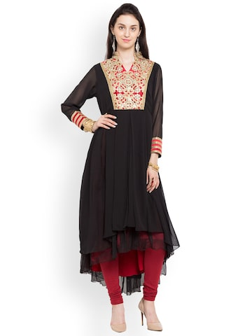 Nikhaar Women Black & Red Embroidered A-Line Kurta Nikhaar Kurtas at myntra