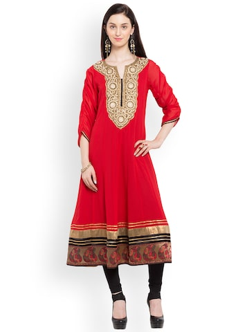 Nikhaar Women Red Embroidered A-Line Kurta Nikhaar Kurtas at myntra
