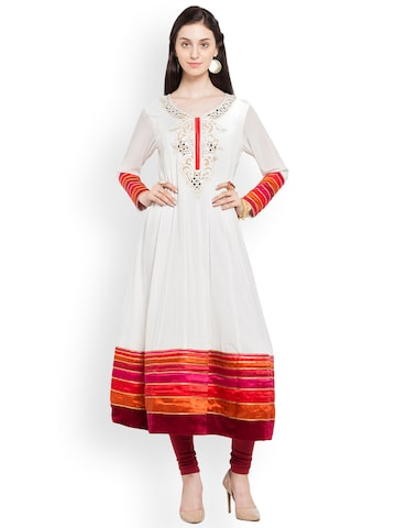 Nikhaar Women White & Pink Colourblocked A-Line Kurta Nikhaar Kurtas at myntra