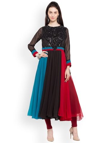 Nikhaar Women Black & Blue Colourblocked A-Line Kurta Nikhaar Kurtas at myntra