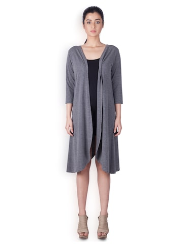 Zink London Grey Solid Longline Shrug Zink London Shrug at myntra