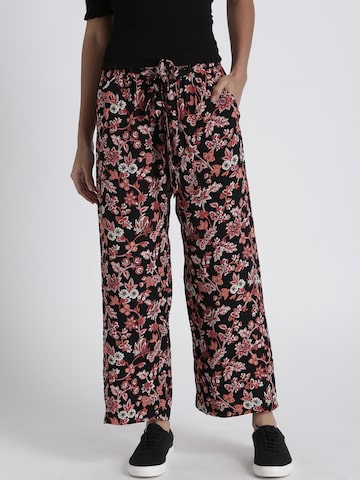 Chemistry Women Black & Maroon Regular Fit Printed Parallel Trousers Chemistry Trousers at myntra