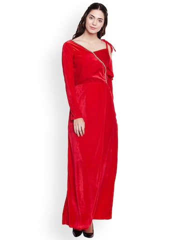 Athena Women Red Solid Wrap Maxi Dress Athena Dresses at myntra