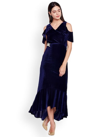 Athena Women Blue Solid Maxi Dress Athena Dresses at myntra