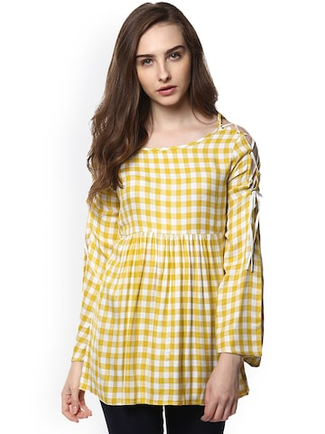 Taurus Women Yellow Checked Top Taurus Tops at myntra