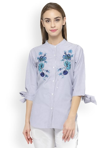 plusS Women Blue & White Regular Fit Striped Casual Shirt plusS Shirts at myntra