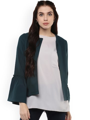 Harpa Women Teal Green Solid Open Front Jacket Harpa Jackets at myntra