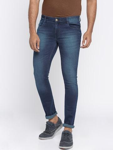 Parx Men Blue Skinny Fit Mid-Rise Clean Look Jeans Parx Jeans at myntra