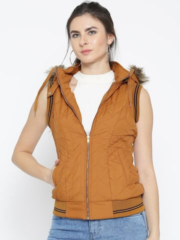 Fort Collins Women Mustard Yellow Sleeveless Hooded Bomber Jacket Fort Collins Jackets at myntra