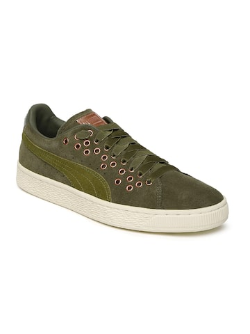 Puma Women Olive Green Suede XL Lace VR Sneakers Puma Casual Shoes at myntra