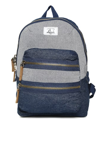 Lavie Women Blue & Grey Colourblocked Backpack Lavie Backpacks at myntra