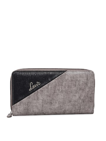 Lavie Women Grey & Black Colourblocked Zip Around Wallet Lavie Wallets at myntra