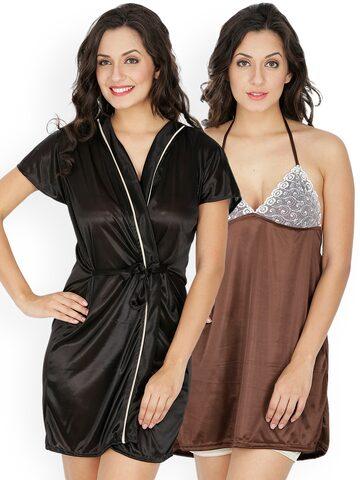 Klamotten Brown Nightdresses with Robe 211K-208B Klamotten Nightdress at myntra