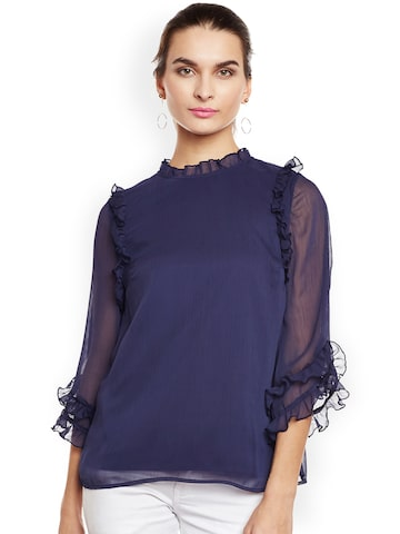 Oxolloxo Women Navy Blue Solid Semi-Sheer Top Oxolloxo Tops at myntra