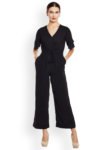 Oxolloxo Women Black Solid Jumpsuit Oxolloxo Jumpsuit at myntra