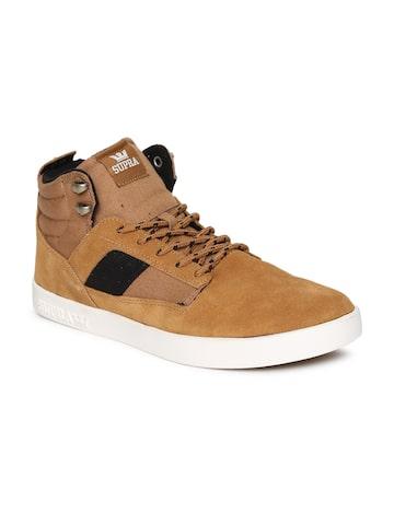 Supra Men Brown Solid BANDIT Suede Mid-Top Sneakers Supra Casual Shoes at myntra