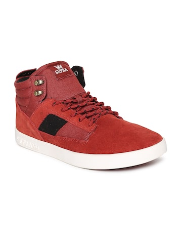 Supra Men Red Solid BANDIT Suede Mid-Top Sneakers Supra Casual Shoes at myntra