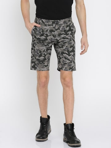 The Indian Garage Co Men Grey & Black Printed Slim Fit Chino Shorts The Indian Garage Co Shorts at myntra