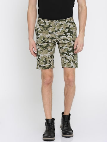 The Indian Garage Co Men Green & Beige Printed Slim Fit Chino Shorts The Indian Garage Co Shorts at myntra