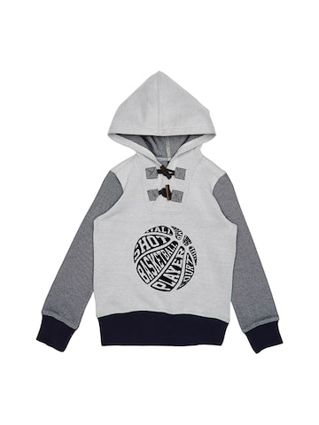 United Colors of Benetton Boys Grey & White Printed Hooded Sweatshirt United Colors of Benetton Sweatshirts at myntra