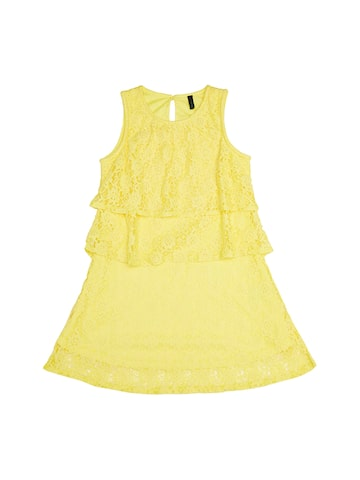 United Colors of Benetton Girls Yellow Lace A-Line Dress United Colors of Benetton Dresses at myntra