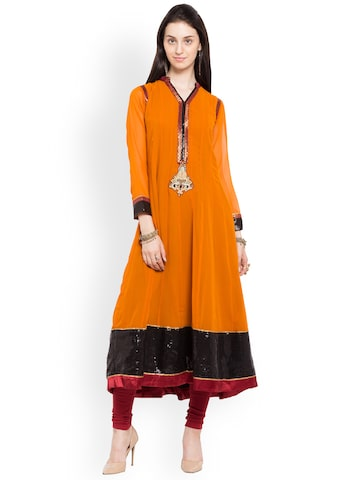 Nikhaar Women Orange Solid Anarkali Kurta Nikhaar Kurtas at myntra