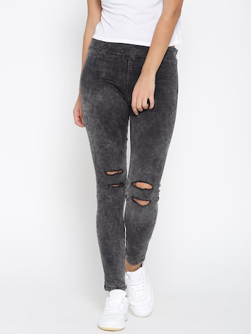 United Colors of Benetton Charcoal Grey Distressed Jeggings United Colors of Benetton Jeggings at myntra