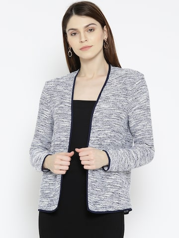 United Colors of Benetton Blue & White Self-Design Open Front Shrug United Colors of Benetton Shrug at myntra