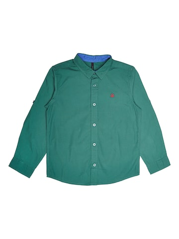 United Colors of Benetton Boys Green Regular Fit Solid Casual Shirt United Colors of Benetton Shirts at myntra