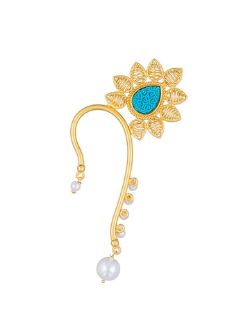 Sia Art Jewellery Gold-Toned & Blue Teardrop Shaped Ear Cuff Sia Art Jewellery Earrings at myntra