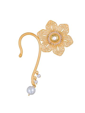 Sia Art Jewellery Gold-Toned Floral Ear Cuff Sia Art Jewellery Earrings at myntra