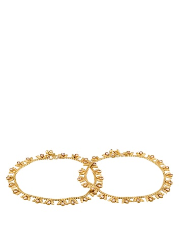 Sia Art Jewellery Set of 2 Gold-Plated Stone-Studded Anklets Sia Art Jewellery Anklet at myntra