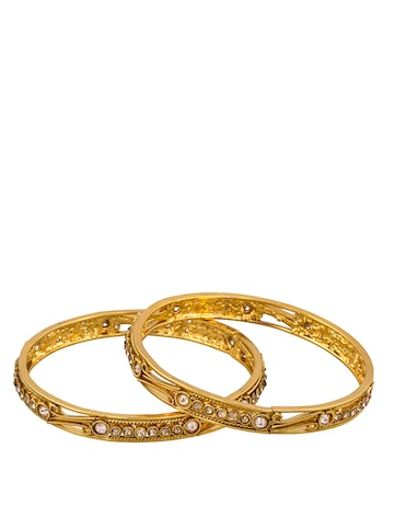 Sia Art Jewellery  Set of 2 Gold-Toned Embellished Bangles Sia Art Jewellery Bangle at myntra