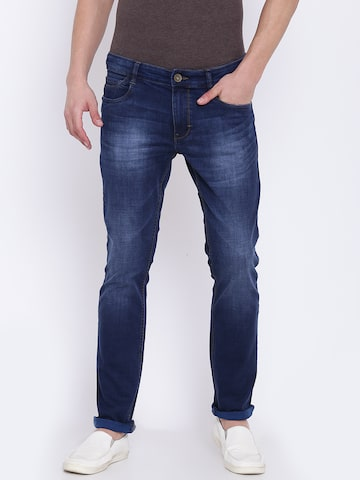 Parx Men Navy Blue Slim Tapered Fit Mid-Rise Clean Look Stretchable Jeans Parx Jeans at myntra