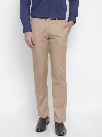 Park Avenue Men Khaki Smart Slim Fit Solid Regular Trousers Park Avenue Trousers at myntra