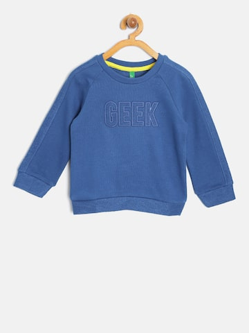 United Colors of Benetton Boys Blue Solid Sweatshirt United Colors of Benetton Sweatshirts at myntra