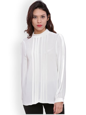 Avirate Women White Solid Top Avirate Tops at myntra