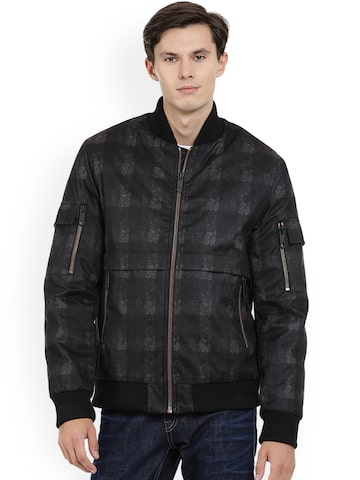 Antony Morato Men Black Checked Bomber Jacket Antony Morato Jackets at myntra