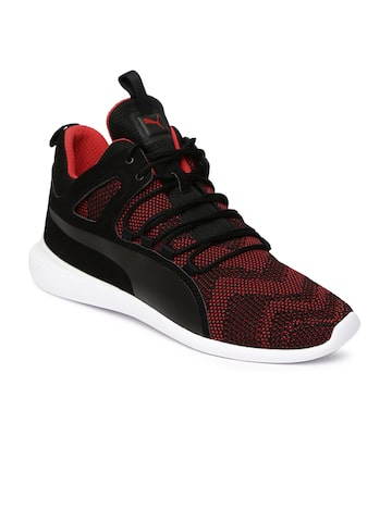 Puma Men Black & Red SF Evo Cat Mid-Top Sneakers Puma Casual Shoes at myntra