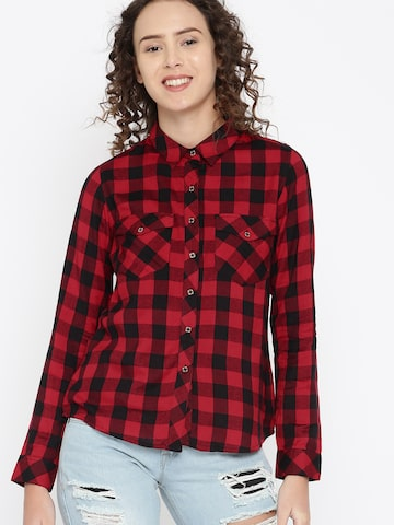 DressBerry Women Black & Red Regular Fit Checked Casual Shirt DressBerry Shirts at myntra