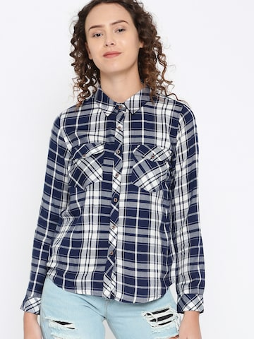 DressBerry Women Navy & White Regular Fit Checked Casual Shirt DressBerry Shirts at myntra