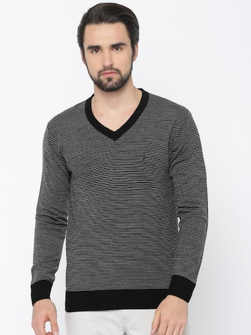 Indian Terrain Men Black & Grey Striped Pullover Indian Terrain Sweaters at myntra