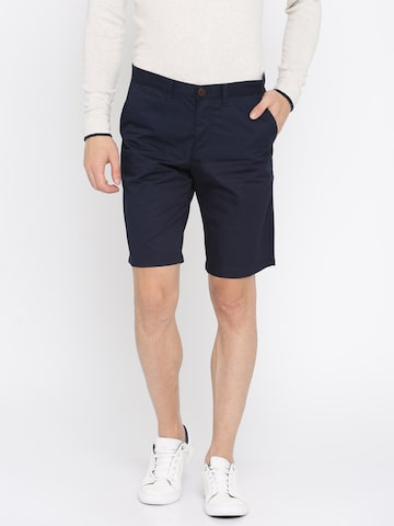 Indian Terrain Men Navy Blue Solid Chino Shorts Indian Terrain Shorts at myntra