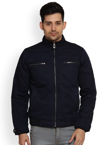 Duke Men Navy Blue Solid Biker Jacket Duke Jackets at myntra