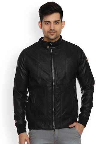 Duke Men Black Solid Biker Jacket Duke Jackets at myntra